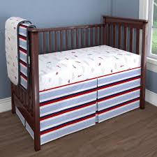red and blue stripe nursery idea customizable crib bedding set carousel designs