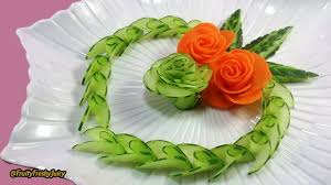 Garnish Design Artistic Cucumber Carrot Rose Carving Design From