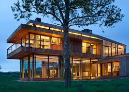 Inspiration for a contemporary wood exterior home remodel in Denver