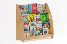 ... Modern Childrens Affordable Natural Wooden Colour Child Bookcase And  Many Kid Books On The Four Shelves ...