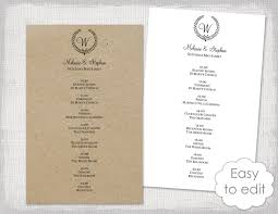 Wedding Schedule Template Wedding Itinerary Template Rustic Wedding Schedule Black 18