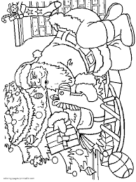 Santa Kneeling At Manger Coloring Page With Christmas Presents Pages