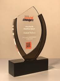 Metal Crest Design Acrylic Crest With Laser Engraved Glass Awards Trophy