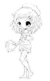 Coloring Page Cute Anime Chibi Girl Pages Artigianelliinfo