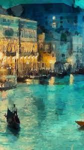 art-classic-painting-water-lake-night ...