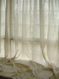 2 x french country tab top beige cotton linen crochet lace curtain panel f008