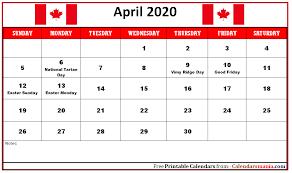 12 Monthly 2020 Canada Holidays Calendar