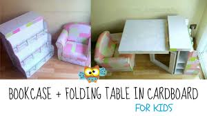 diy recycling cardboard bookcase and folding table for children