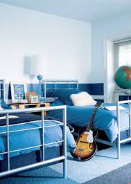 kids bedroom stylish white and blue painted walls shared boys ...