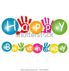 Happy Birthday Signs To Print Happy Birthday Banner Childrens Hand Print Stock Vector