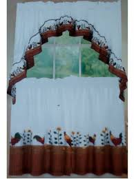 Kitchen Curtains With Rooster Designs Country Roosters And Sunflowers Kitchen Curtains Set