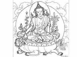 チベット系の観音菩薩の塗り絵ー獅子に乗った仏 大人の塗り絵ー無料新着