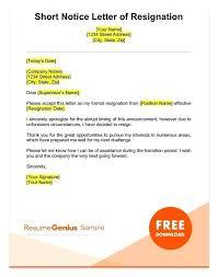 Resignation Template Uk Templates For Resignation Letters Short Notice Formal Resign