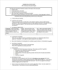 sample lesson plan outline lesson plan outline template 12 free sample example format