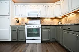 two toned kitchen wall cabinet with white gray combination with ceramic tile backsplash large