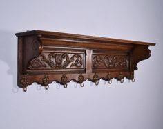 Antique Oak Coat Rack Antique oak wall mount medicine cabinet mirror glass wood shelves 67