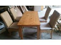 ashdon solid wood table 4 rattan chairs