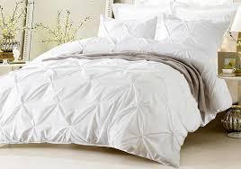 web linens 3 piece pinch pleat design white duvet cover set