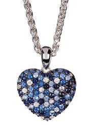 image of effy sterling silver sapphire heart pendant necklace