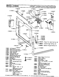 exterior door parts. cde850 range front, door lock \u0026 hinges parts diagram exterior t