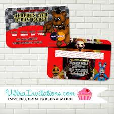 Credit Card Party Invitations Five Nights At Freddy Credit Card Invitations X Best Five Nights At
