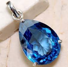 details about sapphire blue tanzanite pendant necklace wave chain women party jewelry charm