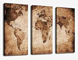 >amazon canvas wall art vintage world map painting ready to hang  canvas wall art vintage world map painting ready to hang 3 pieces large framed old