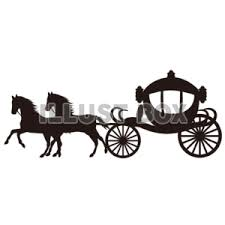 無料イラスト シルエット馬車と馬