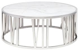 roman round white marble coffee table brushed gold contemporary coffee tables by mod space furniture
