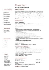 Call Center Manager Resume Job Description Example Sample Simple Example Of A Call Center Resume