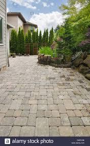 Outdoor Brick Paver Patio Designs Garden Backyard Hardscape Brick Pavers Patio With Pond Trees