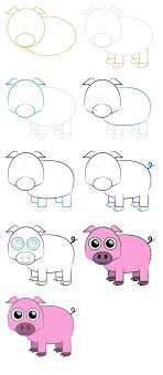 how to draw a cartoon pig step by step en how to draw a cute baby