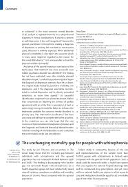 the unchanging mortality gap for people schizophrenia the  first page of article
