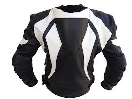 black white motorcycle leather jacket
