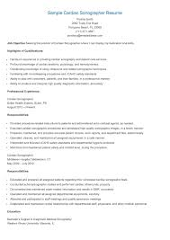 Sample Cardiac Sonographer Resume Resame Pinterest