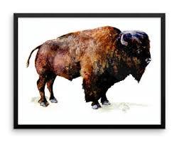 bison framed poster buffalo animal painting print western nature science illustration realistic wall art home decor on framed western wall art with framed western art etsy
