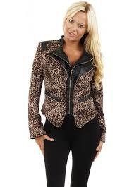leopard print double zip leather trim jacket