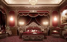 luxury european furniture for bedroom classic royal crown design with elegant crystal lighting and lounge chair exotic romantic wall decor and red curtain