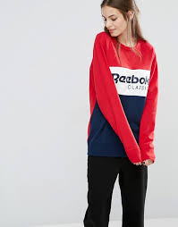 reebok jumper. reebok | classics panel logo oversized sweatshirt in red and navy jumper o