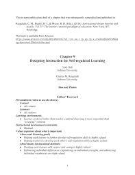 Instructional Design Theories And Models Reigeluth Pdf Designing Instruction For Self Regulated Learning Pre
