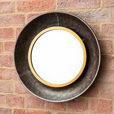 black bronze round wall mirror large
