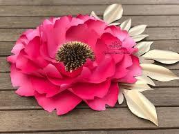 Peony Paper Flower Big Peony Paper Flower Template Video Tutorial Paper Flower Pattern Pdf Svg Silhouette Cameo Cricut Diy Paper Flower Template