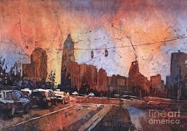 automobile painting watercolor painting of charlotte nc skyline at sunset north ca by