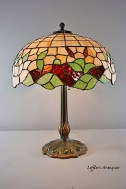antique leaded glass lamp cattails water lilly 18