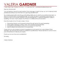 Amazing Retail Assistant Store Manager Cover Letter Examples