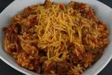 american chop suey  pasta shells with meat