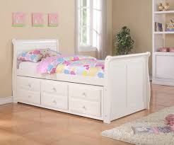 Sleigh Twin Size Captains Trundle Bed White
