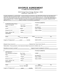 Divorce Papers Free Download Divorce Agreement Form Michigan Free