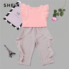Us 12 56 42 Off Shein Toddler Frill Top With Ruffle Striped Pants Set Casual Child Teenage Girls Clothing 2019 Korean Fashion Suit Kids Clothes In
