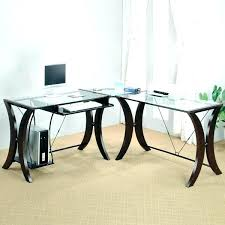 charming glass desk computer glass top desk with l shaped furniture idea 7 glass top desk